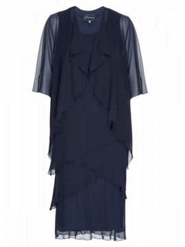 Inspirations Ladies Navy Chiffon Dress and Jacket Set
